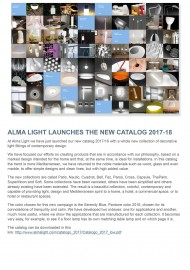 Alma Light launches the new catalog 2017-18